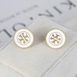 ★NEW Tory Burch White Double Circle Logo Earrings★